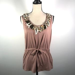 Trina Turk Embroidered sequin Brown Top Size M